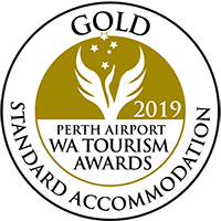 2019 Perth Airport WA Tourism Awards – Gold in Standard Accommodation