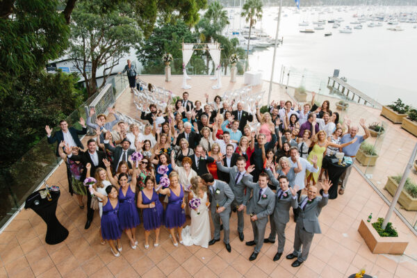 Aerial Wedding Party Shot