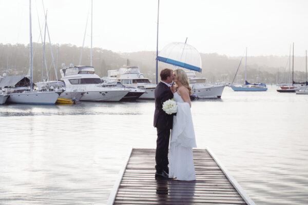 Wedding couple on jetty